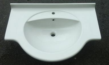 Large bow fronted 800mm vanity top basin white pergamon grey