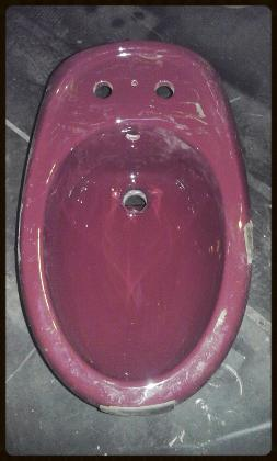 burgundy bidet two tap hole