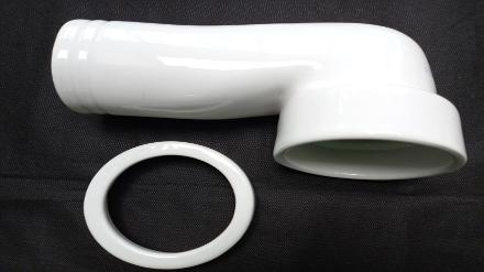 90 degree pan connector white ceramic