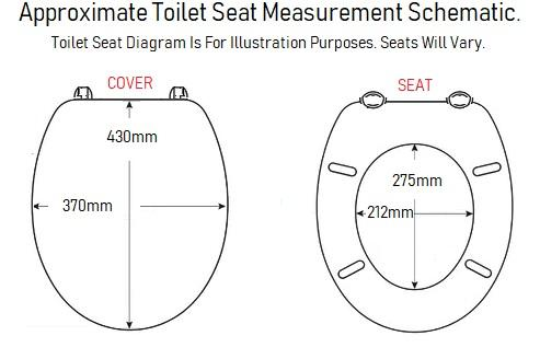 shell celmac toilet seat size measurements uk