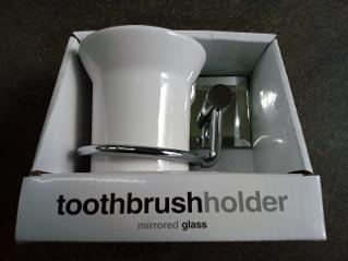 Toothbrush Holder Chrome Ceramic Mirrored Glass