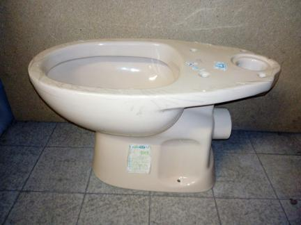 peach colour close coupled toilet pan