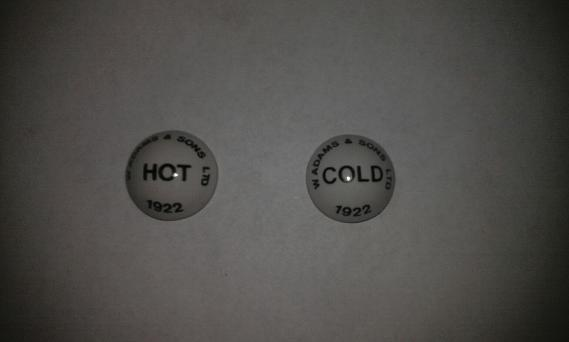 w adams & sons tap indices hot cold 1922